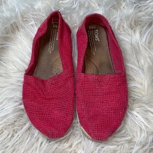 TOMs Red Slip On Size 8.5